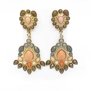 earrings • multi colored neutral gold statement